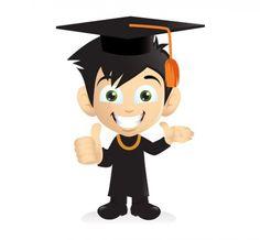 XOO Plate Cartoon Smiling Graduation Boy PNG