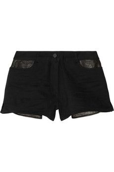 T by Alexander Wang Leather-trimmed cotton-blend twill shorts | NET-A-PORTER