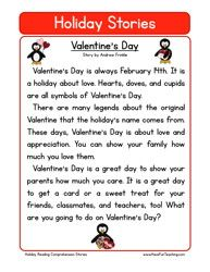 holiday stories comprehension valentines day