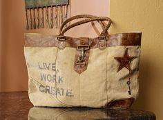 Live Work Create Short Canvas Handbag – Primitive Star Quilt Shop