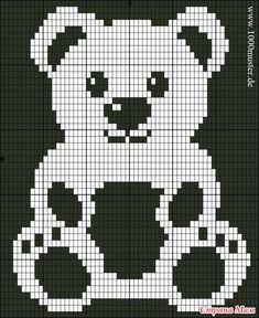 Free Filet Crochet Charts and Patterns: Filet Crochet Bear - Chart A Filet Crochet Charts, C2c Crochet, Crochet Bear, Tapestry Crochet, Love Crochet, Crochet Stitches, Beautiful Crochet, Baby Knitting Patterns, Crochet Teddy Bear Pattern