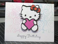 Here's another card my daughter and I created for a friend's birthday. I taught her some stamping techniques on this day. We started with a pre-cut white card from JoAnn Essentials. Using a rainbow stamp pad by Big n Juicy, and Impression Obsession Mega Mount and Cover-a-Card background stamp called swirls she stamped a background over the front and back of this card in one step. The Happy Birthday stamp is from Stampin Up! Hostess set Happiest Birthday Wishes set.