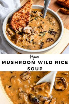 The creamiest Vegan Mushroom Wild Rice soup that is dairy-free & made with no cream. This vegetarian mushroom rice soup is so easy, creamy, & can be made in one pot & in 1 hour or less. A healthy mushroom soup recipe with wild rice & coconut milk. Mushroom Soup Recipes, Easy Soup Recipes, Vegan Dinner Recipes, Veggie Recipes, Cooking Recipes, Mushroom Rice, Mushrooms Recipes, Cheap Recipes, Italian Recipes