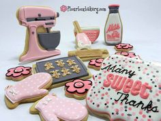 Baking Theme Decorated Sugar Cookies with Royal Icing Mixer, Cookie Sheet, Oven Mittens, Etc.