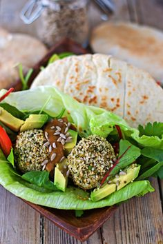 Hemp Falafel with Sunflower Seed Dressing. This is an awesome recipe that is not only #vegan and #glutenfree, but also #allergyfriendly. Very easy to make with an extraordinary taste! A winner for all! #FoodAllergyAwarenessWeek #foodallergy