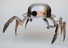 Lockwasher Robot Sculptures - retro-junk Doris of Meet The Robinsons made from found parts