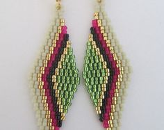 c5c6bd176a4f Seed Bead Beadwoven Earrings Red Aqua Copyright by pattimacs Abalorios