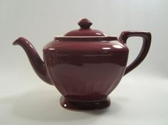 Vintage Hall China Teapot Hollywood Burgundy by cottagewhimsies