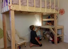DIY loft bed with desk. 3 inch lag bolts and 3 inch wood screws Bunk Bed Plans, Bunk Beds, Loft Beds, Build A Loft Bed, Indoor Playroom, Wood Screws, Diy Bed, Lag Bolts, Sweet Home
