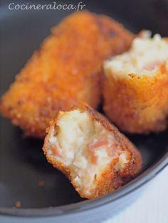 Recette des croquettes de jambon à l'espagnole ou croquetas de jamón en VO servies comme tapas.