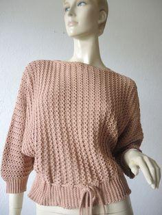 Vintage Pullover - gemusterter Sommerpullover, handgestrickt  - ein Designerstück von Na-nett-e bei DaWanda