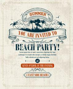 Vintage Summer Invitation Royalty Free Stock Vector Art Illustration