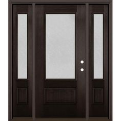 Masonite Microgranite Lite Decorative Glass Left-Hand Inswing Walnut Stained Fiberglass Prehung Entry Door With Side Entry Door With Sidelights, Entry Doors, Wood Doors, Entrance, Modern Mountain Home, Glass Insulators, Family House Plans, Decorative Glass, Walnut Stain
