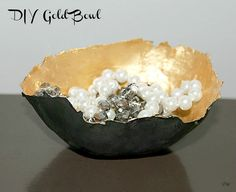 Make a Beautiful Statement Piece out of Simple Paper and Paint - DIY Gold Paper Mache Bowl