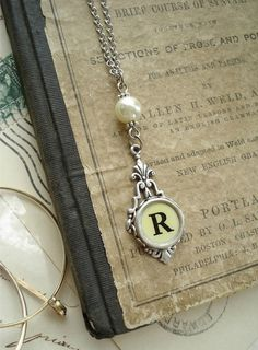 Typewriter Key Jewelry - Yellow Letter R Vintage Typewriter Key Necklace. Antique Silver with Ivory Glass Pearl. Rustic Upcycled Jewelry.