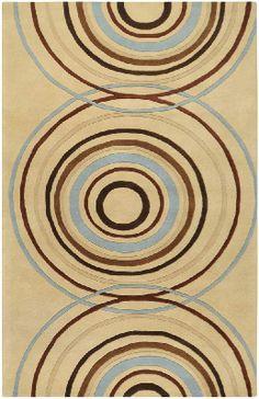 Retro Modern Rugs | 10u0027 X 14u0027 Contemporary Rectangular Area Rug Retro Tan  Circles