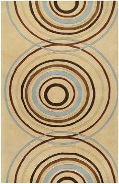 Retro Modern Rugs | 10' x 14' Contemporary Rectangular Area Rug Retro Tan Circles