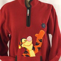 Winnie the Pooh Tigger Red Fleece Shirt Jacket Zip Womens Size Large Snowflake #Pooh #SweatshirtCrew
