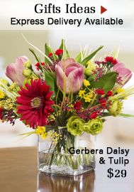 """{$tab:description} """"Just Picked from the Garden"""" Appeal Nine luscious tulips, realistic even to the touch, cluster with their lush leaves in a classic nosegay design. Our clear acrylic water completes the illusion of fresh garden tulips in a 5-1/2"""" shapely glass vase. This mass gathering of springtime favorites will bloom all year long. Available in four garden fresh colors.{$tab:DETAILS}  11"""" Height x 13"""" Width Shapely Glass Vase - 5.5""""H x 5.75""""Diamete..."""