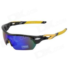 CARSHIRO Outdoor Cycling UV400 Protection Polarized Sunglasses w/ Replacement Lens - Yellow   Black Price: $16.20