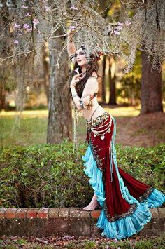 Beautiful Red skirt with blue ruffle. How fun would it be to bellydance in this?