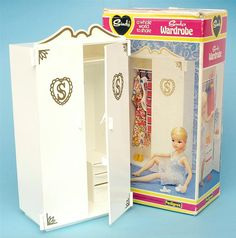 Sindy Wardrobe, never had one as too expensive but my grandfather made me one out of wood it was huge but I loved it.