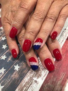 Sparkle Nail Designs, Holiday Nail Designs, Sparkle Nails, Nail Designs Spring, Holiday Nails, July 4th Nails Designs, 4th Of July Nails, Flag Nails, Patriotic Nails