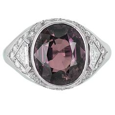 Alexandrite Diamond platinum Ring | From a unique collection of vintage solitaire rings at https://www.1stdibs.com/jewelry/rings/solitaire-rings/