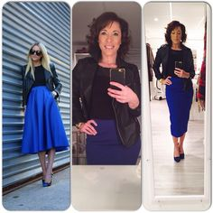 Ootd, outfit, blue skirt, leather Jacket, blue and Black shoes, Black top www.mbstyliste.ca Follow me on Instagram and facebook