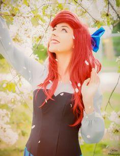 Ariel, the little mermaid princess Disney. Blue dress costume by Vestara Ivana. Kiss the girl cosplay.