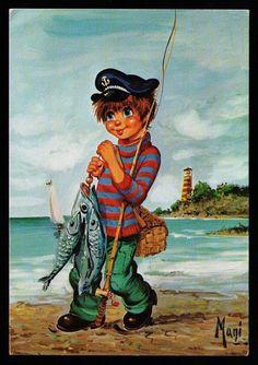 CP fantaisie illustrateur MANI Enfant petit pecheur, canne a peche,poissons/2040