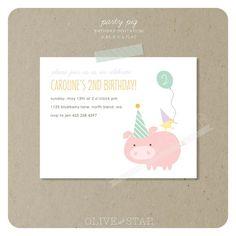 party pig birthday invitation set by OliveandStar on Etsy, $16.50
