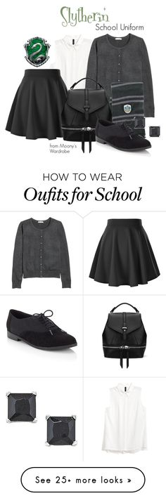 """Slytherin: School Uniform"" by evalupin on Polyvore featuring Lipsy, harrypotter, slytherin and hogwarts"