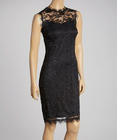 d89f885cc57 Look what I found on  zulily! Black Lace Sleeveless Dress - Women by Marina