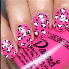 Hot pink leopard print nails