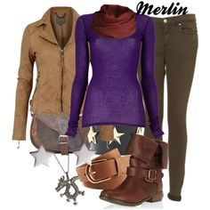 """""""Merlin- BBC"""" by polyspolyvore on Polyvore but any fan would know to change the purple shirt for blue or red lol"""