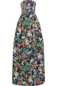 Matthew Williamson Rainbow Morris floral-print cotton-blend gown | NET-A-PORTER
