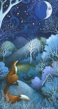 Talking to the Moon is an enchanting original acrylic painting by Amanda Clark. The painting is float mounted in a glazed . Fantasy Kunst, Fantasy Art, Art And Illustration, Clark Art, Fairytale Art, Fox Art, Pics Art, Whimsical Art, Illustrators