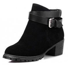 Women's Retro Round Toe Ankle High Belt Buckle Block Heel Comfy Boots