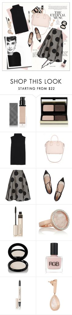 """""""Style Icon - Audrey Hepburn"""" by amaryllis ❤ liked on Polyvore featuring Burberry, Kevyn Aucoin, The Row, Givenchy, Rochas, Miu Miu, By Terry, Monica Vinader, Shiseido and RGB Cosmetics"""