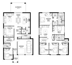 Aria 38 - Double Level - Floorplan by Kurmond Homes - New Home Builders Sydney NSW 6 rooms 6 Bedroom House Plans, Family House Plans, Dream House Plans, Modern House Plans, House Floor Plans, House Layout Plans, House Layouts, 2 Story House Design, The Plan