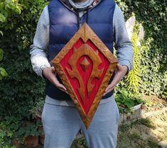 Horde Shield, World of Warcraft Inspired, Lok'tar Ogar, For The Horde Skyrim Dragon Priest Masks, World Of Warcraft Characters, For The Horde, Wood Carving Tools, Gamer Gifts, Fantasy World, Hand Carved, Artsy, Wall Art