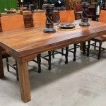 Spanish colonial style table three inches thick made from recycled wood