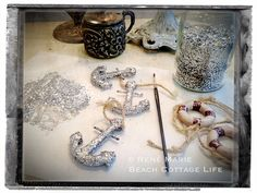 glitter anchor ornaments DIY by René Marie | Beach Cottage Life | http://www.etsy.com/shop/BeachCottageLife
