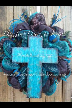Chocolate and Turquoise Peacock Wreath by DazzlinDoorzbyKristi, $85.00