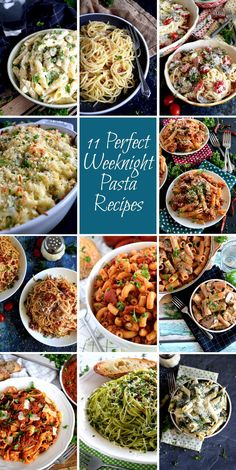 11 Perfect Weeknight Pasta Recipes - Weeknights can be hectic and stressful, but getting dinner on the table doesn't have to be! 11 Perfect Weeknight Pasta Recipes is a collection of my favourite pasta recipes that are fast, affordable, and delicious! Best Dinner Recipes, Entree Recipes, Pasta Recipes, Great Recipes, Favorite Recipes, Best Dinner Dishes, Noodle Recipes, Amazing Recipes, Delicious Recipes