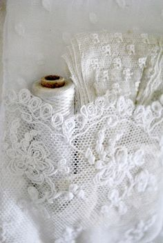 White antique French net lace tambour ... Beautiful!