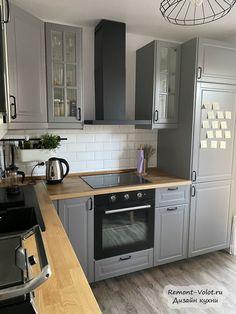 Grey Kitchen Designs, Kitchen Room Design, Modern Kitchen Design, Home Decor Kitchen, Kitchen Interior, Home Kitchens, Small Kitchen Cabinets, Small Kitchen Layouts, Open Plan Kitchen Living Room