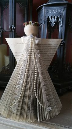 Swedish Folded Book Angel by RaintreeMountain on Etsy Mehr Old Book Crafts, Book Page Crafts, Christmas Crafts, Christmas Decorations, Folded Book Art, Paper Book, Book Folding, Paper Art, Christmas Makes