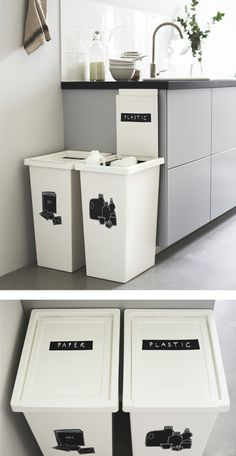 Marvelous Kitchen On Ikea Recycling Bins Kitchen White Bin, Kallax Regal, Ikea Home, First Apartment, Home Hacks, Home Organization, Interior Design Living Room, Ikea Interior, Home Kitchens